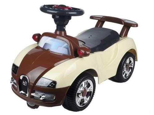 Baby Mix Bugatti lábbal hajtható zenélő és világító autó gyerekeknek (bézs-barna)