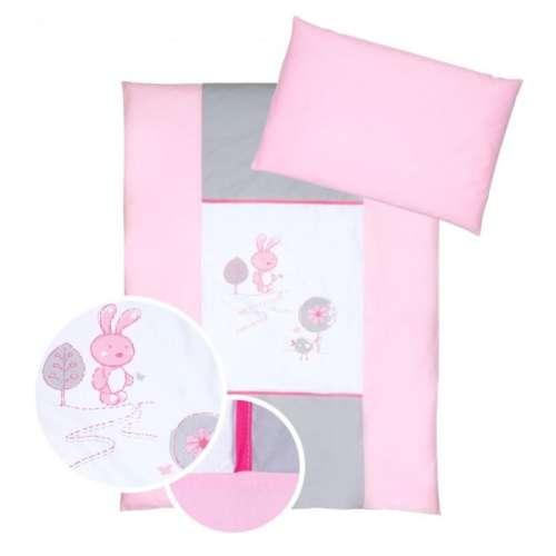 Klups 4részes Ágynemű #szürke-rózsaszín nyuszis
