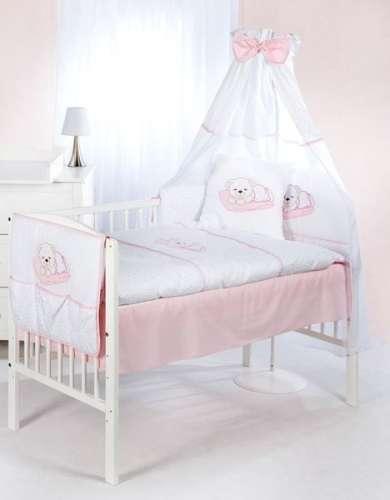 Klups 5 részes Ágynemű - Álmos maci  fehér-rózsaszín  064f7ec97d