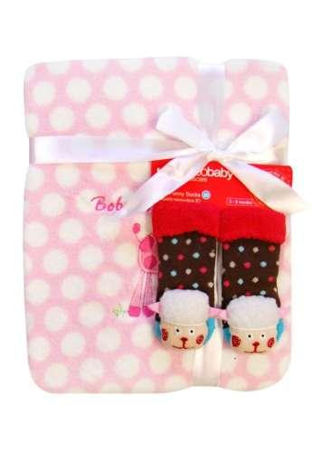 Bobobaby Ajándék szett #rózsaszín - pöttyös Takaró +3D zokni