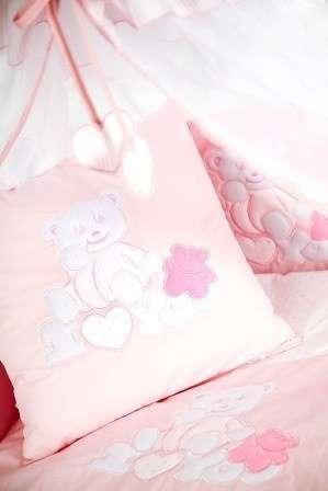 Klups 3 részes Ágyneműhuzat - Maci #fehér-rózsaszín