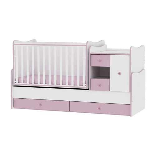 Lorelli MiniMax ringatható kombi Kiságy #fehér-rózsaszín