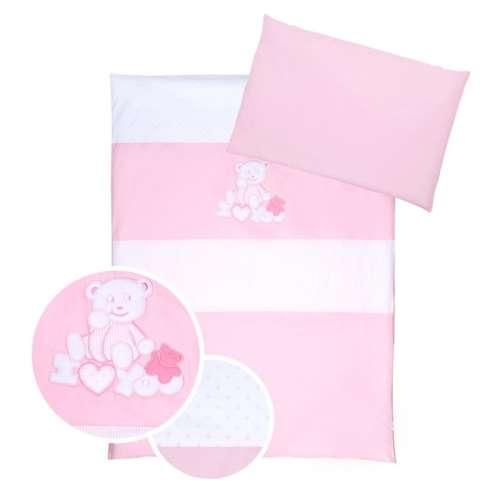 Klups 4részes Ágynemű - iLoveYou Maci #fehér #rózsaszín