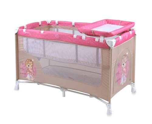 Lorelli Nanny 2 utazóágy hercegnős (bézs-rózsaszín)