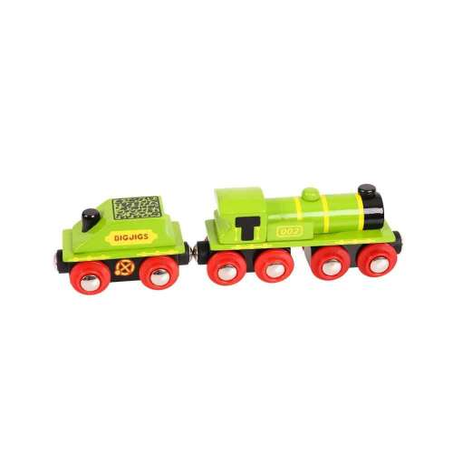 Bigjigs zöld mozdony és szenes vagon