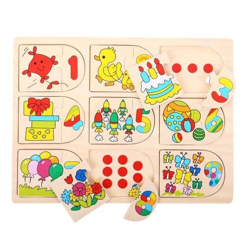 Bigjigs - Találd meg a párját Puzzle - számok és állatok
