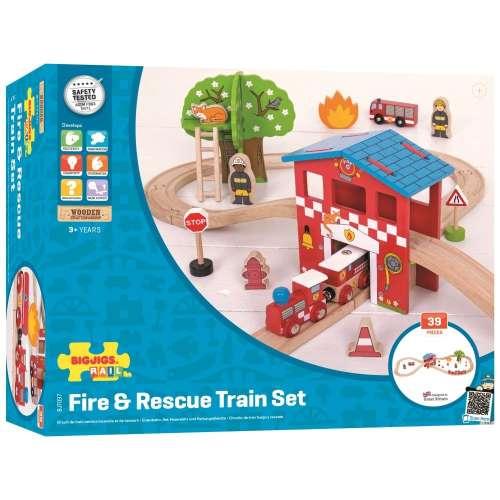 Bigjigs tűzoltó vasúti Szett