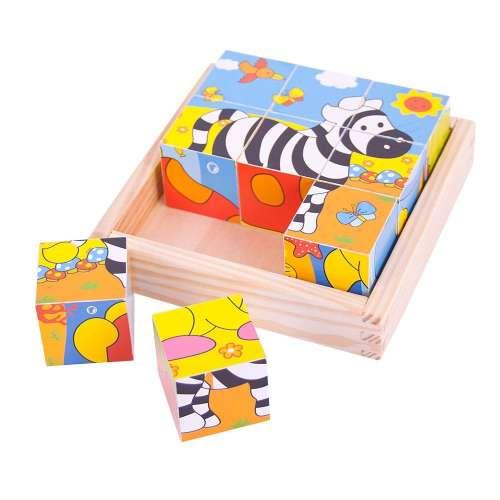 Bigjigs szafari állatok - kocka puzzle