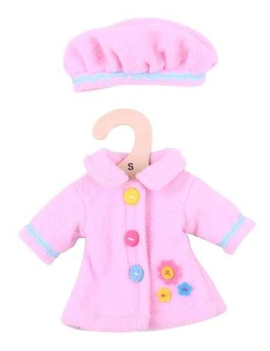 Bigjigs babaruha - rózsaszín kabát és sapka 25 cm