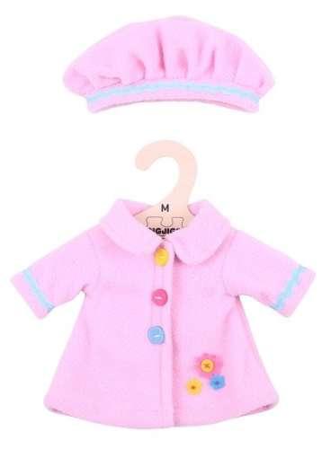 Bigjigs babaruha - rózsaszín kabát és sapka 30 cm