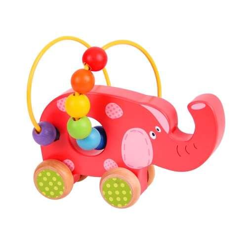 Bigjigs tologatós golyóvezető játék - elefánt