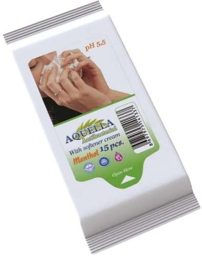 Aquella Antibacterial Menthol nedves törlőkendő 15db