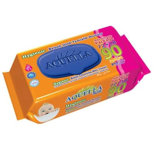 Aquella Soft Hygienic tisztítókendő (90db-os) kupakos