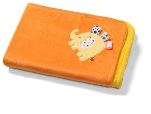 BabyOno 3D kétoldalas mikroszálas babatakaró (75x100cm) (sárga-narancssárga)