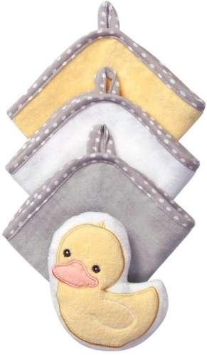 BabyOno babafürdető szett (3 kendő és 1 állatos szivacs) (sárga-fehér-szürke)