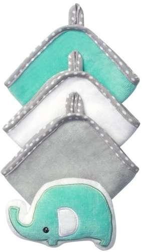 BabyOno babafürdető szett (3 kendő és 1 állatos szivacs)(fehér-szürke-türkiz)