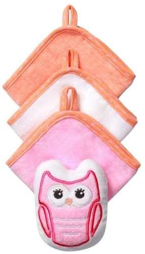 BabyOno babafürdető szett (3 kendő és 1 állatos szivacs) (narancssárga-fehér-rózsaszín)