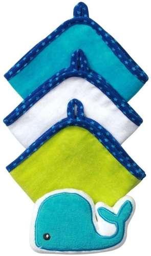BabyOno babafürdető szett (3 kendő és 1 állatos szivacs)(kék-fehér-zöld)