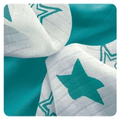 XKKO Bambusz nyálkendő (30x30cm) (9db) (türkiz) csillagok