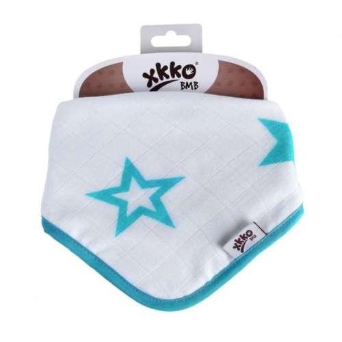 XKKO Bambusz nyálkendő patentos (türkiz) csillagok