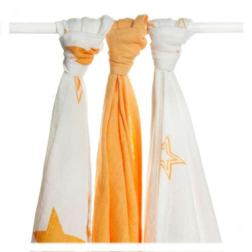 XKKO Bambusz pelenka (70x70cm) (3db) csillagok (narancssárga) mix