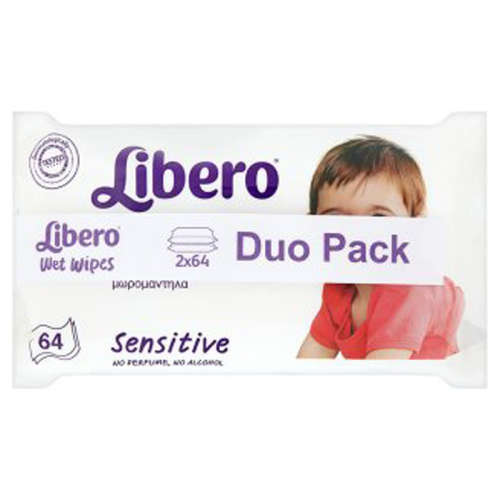 Libero nedves törlőkendő Sensitive Duo Pack (2x64db)