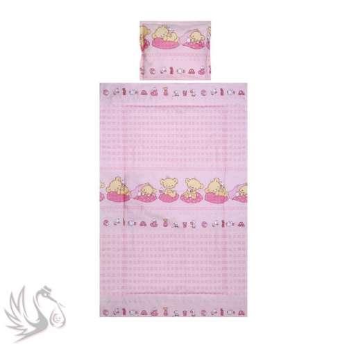 Lorelli #3részes mintás ágyneműgarnitúra #szupersztár-mackók #rózsaszín