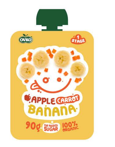 OVKO BIO alma, sárgarépa, banán bébidesszert 90 g - 12 db