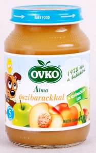 Ovko Glutén- és tejszármazékmentes Bébidesszert - alma őszibarackkal 5hó/190g -12db 30212377 Bébiétel, snack