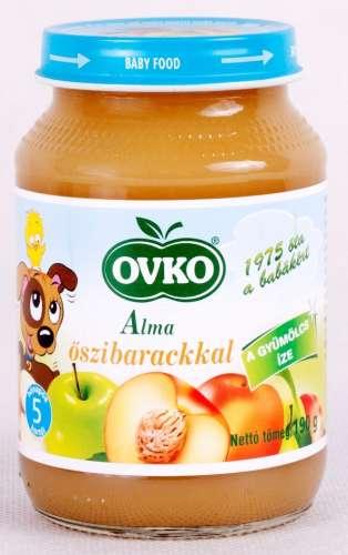 OVKO glutén- és tejszármazékmentes alma őszibarackkal bébidesszert 5hó/190 g - 12 db