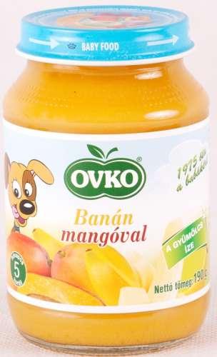 OVKO glutén- és tejszármazékmentes banán mangóval bébidesszert 5hó/190 g - 12 db