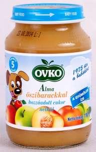 OVKO glutén- tejszármazék- és cukormentes alma őszibarackkal bébidesszert 5hó/190g12db  30212379 Bébiétel, snack