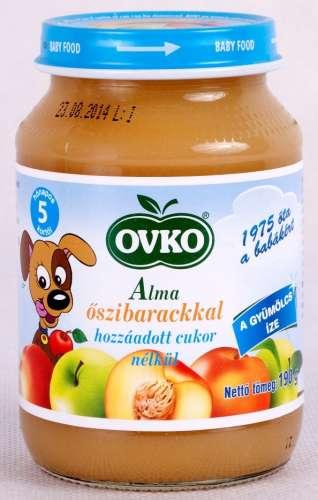 OVKO glutén-, tejszármazék- és cukormentes alma őszibarackkal bébidesszert 5hó/190g- 12 db