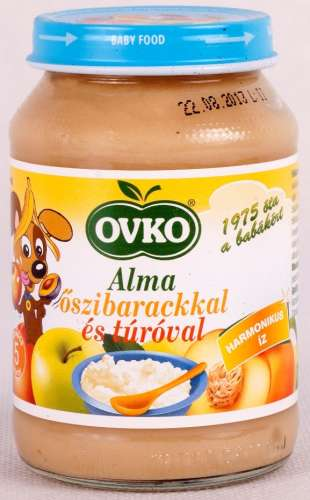 OVKO Alma őszibarackkal és túróval bébiétel 5hó/190g- 12 db