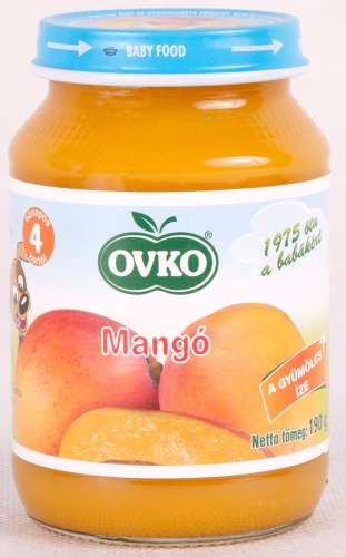 OVKO glutén- és tejszármazékmentes mangó bébidesszert 4hó/190g - 12 db