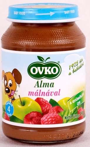 OVKO glutén-és tejszármazékmentes Alma málnával bébidesszert 4hó/190 g - 12 db