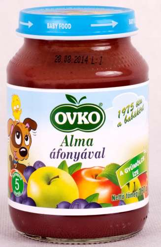 Ovko glutén- és tejszármazékmentes alma áfonyával bébidesszert 5hó/190g 12db