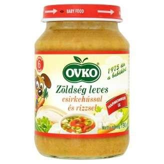 Ovko glutén- és tejszármazékmentes csirkehúsos rizses zöldségleves bébiétel 6 hó/190 g - 12db