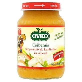 Ovko gluténmentes csibehús sárgarépával, karfiollal és rizzsel bébiétel 7 hó/190 g - 12db
