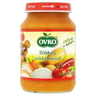 Ovko glutén- és tejszármazékmentes zöldség csirkehússal bébiétel 5 hó/190 g - 12db