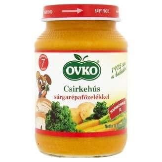 Ovko Glutén- és tejszármazékmentes Bébiétel- csirkehús sárgarépafőzelékkel  7 hó/190g - 12db