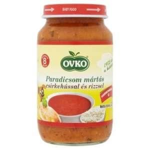 Ovko gluténmentes paradicsom mártás csirkehússal és rizzsel bébiétel 8 hó/220 g 12db 30213128 Bébiétel, snack