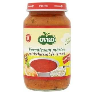 Ovko gluténmentes paradicsom mártás csirkehússal és rizzsel bébiétel 8 hó/220 g 12db