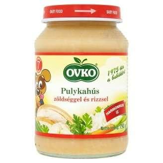 Ovko glutén- és tejszármazékmentes pulykahús zöldséggel és rizzsel bébiétel 7 hó/190 g - 12db