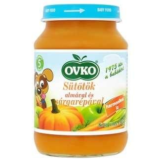 Ovko Glutén- és tejszármazékmentes Bébidesszert - sütőtök almával és sárgarépával  5 hó/190g - 12db