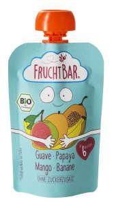 Fruchtbar Bio cukor-és gluténmentes Guava-papaya-mangó-banán Bébidesszert 6hó/100g - 16db 30213139 Bébiétel, snack