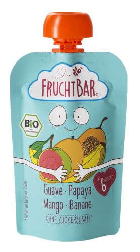 FRUCHTBAR BIO Cukor-és gluténmentes Guava papaya mangó banán 6hó/100g 16db