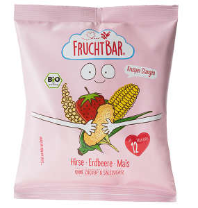 FRUCHTBAR BIO Cukormentes Ropogós köles-kukorica snack eperrel 12hó/30g - 12 db