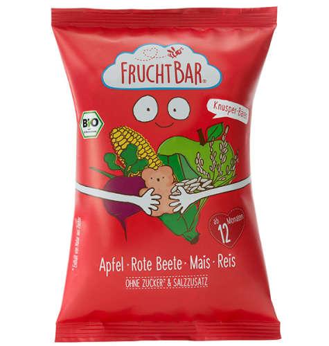 FRUCHTBAR BIO Cukor-és gluténmentes Ropogós kukorica snack almával, céklával és rizzsel 12hó 30g ~ 12 db