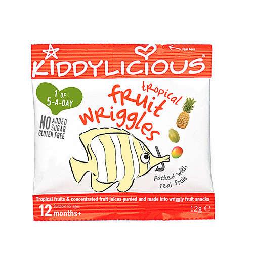 KIDDYLICIOUS Cukor-és gluténmentes Trópusi gyümölcs rágócsíkok 12hó/12g - 18 db